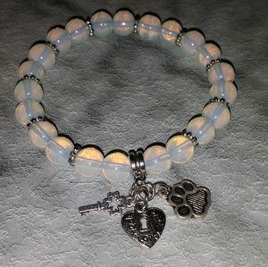 Jewelry - Opal stone stretch bracelet dog cat paws heart key